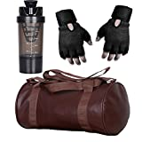 #7: CP Bigbasket Combo Set Leather Soft Gym Bag (Brown), Cyclone Shaker (Black), Netted Gym & Fitness Gloves (Black)