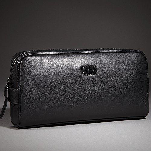 Oneworld Herren Rindleder Clutch Handyetui Universalbörse Geldbörse Börse Geldbeutel Geldtasche Portemonnaie 28.6x13.4x8cm(BxHxT) Khaki Schwarz