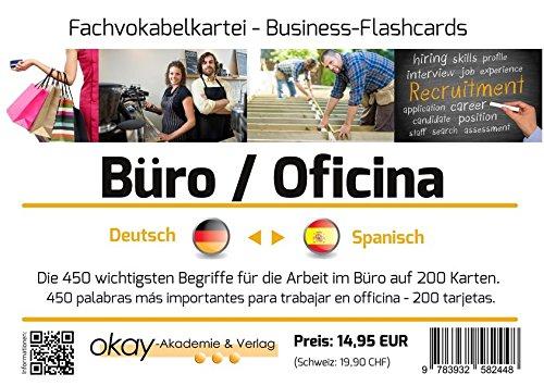 """Fach - Vokabelkartei """"Büro / Office / Arbeitsplatz"""" - Deutsch - Spanisch: Die 800 wichtigsten Begriffe für die Arbeit im Büro - 800 palabras más importantes para trabajar en officina"""
