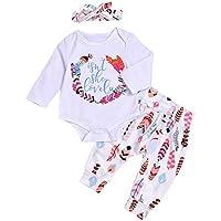 Zantec Camiseta + Pantalones Largos + Diadema 3 unids/Set Niños Bebé Colorido Patrón de Plumas de Algodón Mono de Manga Larga