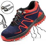 SUADEEX Sicherheitsschuhe Herren Damen Arbeitsschuhe Stahlkappe Sportlich Wanderhalbschuhe Atmungsaktiv Schutzschuhe Hiking Schuhe Traillaufschuhe, Rot, 35EU=36CN