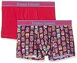 bruno banani Herren Short 2er Pack Hawaiian Mask Boxershorts, Rosa Plum Print//Azalee 2629, Large (2erPack)