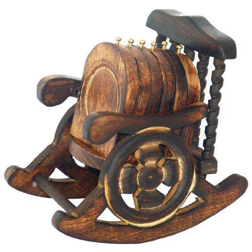 Super India Untersetzer, Holz, Antik-Optik, handgefertigt, verziert, in Schaukelstuhl-Ständer, Set...