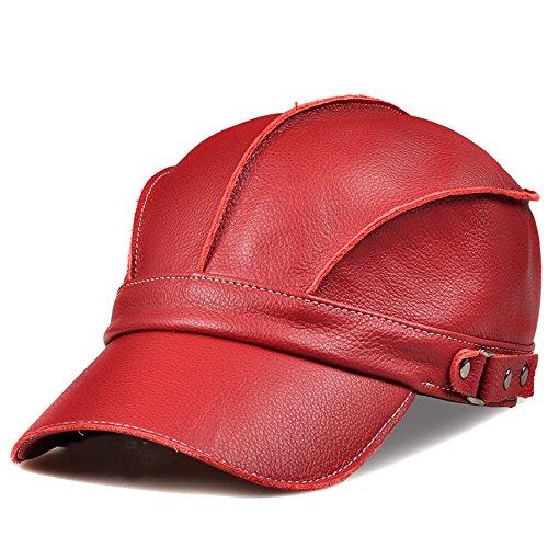 Das neueste Design Freundin Freund Urlaub Geschenke Damen Winter Baseball Cap Hut Leder leder hut männliche Mode Freizeit Frauen Schirmmütze, XL (58-60 cm) eingestellt werden kann, grosse Rot sein. Big - Leder-hut-frauen