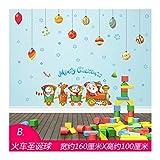 DOUPJ Weihnachtsfensteraufkleber Wandaufkleber PVC Statische Aufkleber Zug Weihnachtskugeln Home Glasaufkleber Abnehmbare Weihnachtsszene Dekoration