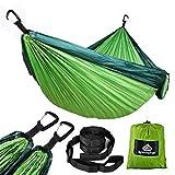NatureFun Hamaca ultraligera para camping| 300kg de capacidad de carga, (300 x 200 cm) Estilo paracaídas de Nylon, transpirable y de secado...