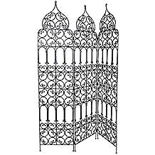 Orientalischer Paravent Raumteiler Aus Eisen Marrakesch 120 X 180cm Hoch In  Schwarz | Marokkanische Trennwand Als