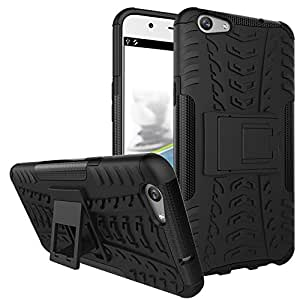 SDO™ Rigid Dual Layer Kickstand Hybrid Warrior Case Back Cover for Oppo F1S (Black) + Touch Screen Pen Style Stylus