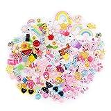 Bebester, 120 ciondoli assortiti per slime in resina, con retro piatto, con perline, frutta, caramelle, cabochon in resina, per artigianato, ornamento, scrapbooking, fai da te