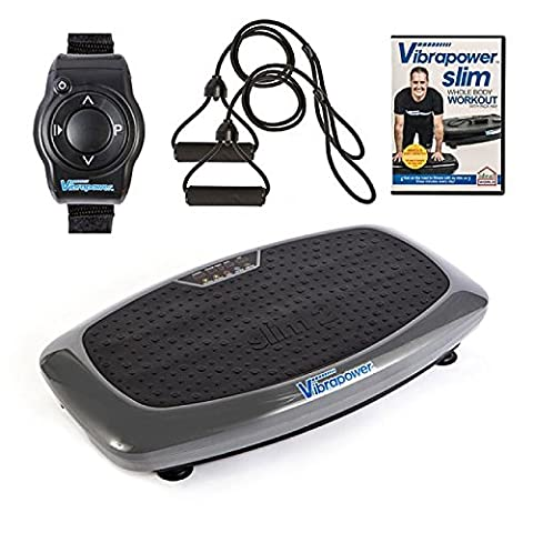 Upgraded Vibrapower Slim 2 Home Fitness Vibration Plate Machine with New Remote Exercise Watch, 2 Resistance Bands + Free Body Workout DVD Vol 1,