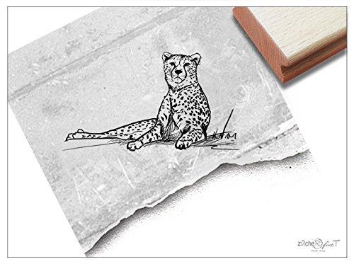 Stempel - Motivstempel Gepard Klein, Zeichnung - Bildstempel Tierstempel Schule Beruf, Karten Servietten Basteln Design Kunst Deko - von zAcheR-fineT