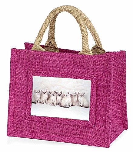 Advanta–Mini Pink Jute Tasche Schneeschuh Kätzchen Snow Show Katzen LITTLE Mädchen klein Einkaufstasche Weihnachten Geschenk, Jute,...