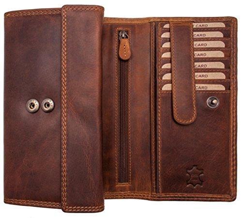 Hill Burry XXL Echt-Leder Portemonnaie | Vintage Geldbörse aus hochwertigen weichem Voll-Leder | Damen / Frauen - Herren / Männer Brieftasche Portmonee Geldbeutel (Braun -)