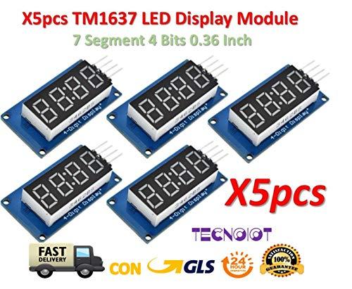 5pcs TM1637 Red Anode Digital Tube LED Module & Clock 7 Segment 4 Bits 0.36 Inch -