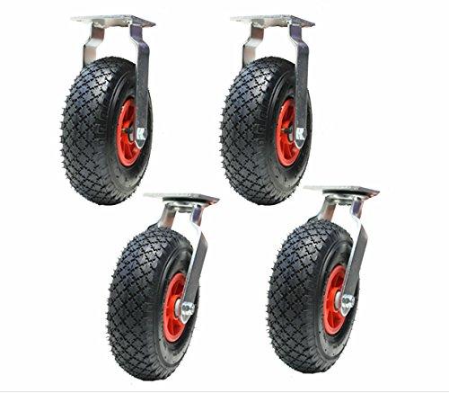 Ruote pneumatiche da 4 a 10 pollici 260 mm 2 girevoli e 2 fissi (300x4) gonfiati pompat