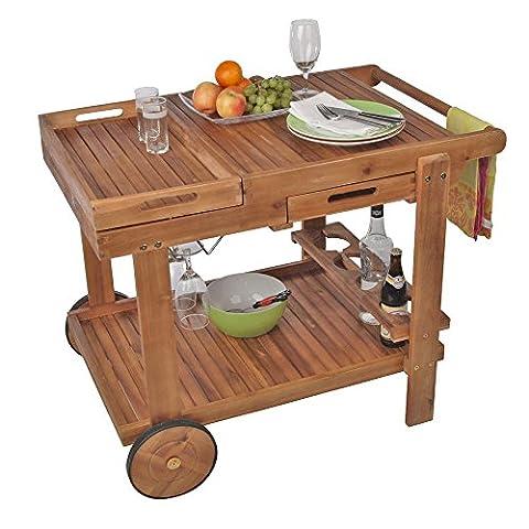 Barbecue Trolley aus Akazienholz Garten-Servierwagen 80 x 60 x 100