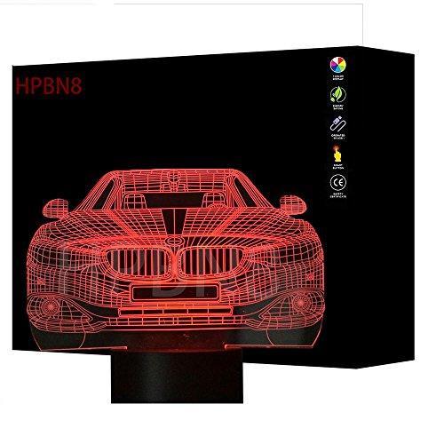 HPBN8 3D Kreativ Auto Lampe USB Power 7 Farben Amazing Optical Illusion 3D wachsen LED Lampe Formen Kinder Schlafzimmer Nacht Licht【7 bis 15 Tage in Deutschland angekommen】 -