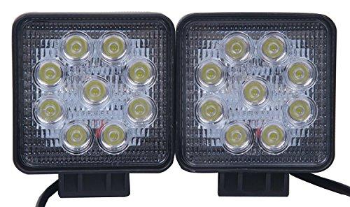 27W Feu Antibrouillard Phare Auto 12v 24v Lampe LED Lumière Eclairage Etanche Faisceau Spot avec Supports Feu Remorque (2pcs Projecteur carré)