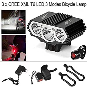 ConstefireFire Linterna LáMPARA para Bicicletas Bici CREE XM-L U2 - Luz LED Frontal para Manillar de Bicicleta (3 focos, 6000 Lumens, 4 Modos) & 1 x Luz Luces Lámpara Trasera para Bici Bicicleta