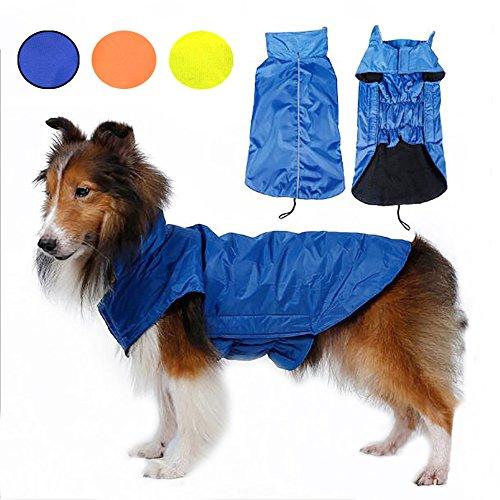 Wasserdichte Hundemantel Jacke Systond Warmer Welpen Regenmantel kleidet Winter zufälliges kaltes Wetter Kostüme Kleid mit Harness Loch und reflektierendem Streifen für kleine mittlere große Hunde Coat004 (Hund Pullover Für Harness)