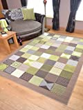 Trend Brown Lime Window Design Rug. Available in 8 Sizes (60cm x 110cm)