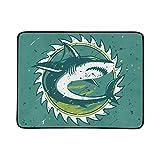 WYYWCY Grande Modello squalo Bianco feroce Portatile e Pieghevole Coperta stuoia 60x78 Pollici Handy Tappetino per Il Campeggio Picnic Spiaggia Interna da Viaggio all'aperto