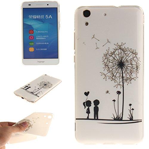 Ecoway copertura / coperture / insiemi di telefono / shell protettivi apparecchi telefonici mobili chiari e trasparenti Custodia TPU silicone Crystal per Huawei Y6 II / Huawei Y6 2 / Honor 5A , case cover protettivo disegno speciale - TX-07