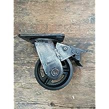 Rueda para muebles industriales, 100 mm, giratoria, freno, vintage, acabado envejecido