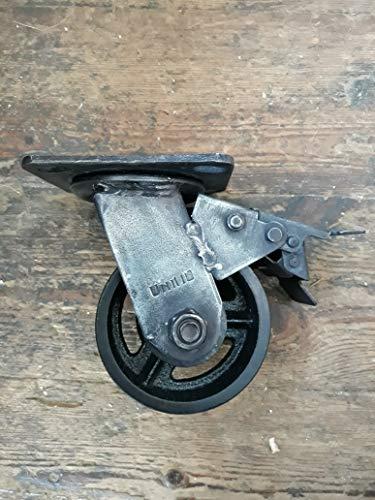 Möbelrolle für Möbel, 100 mm, drehbar, Bremse, Vintage-Look, Antik-Finish