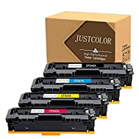JUSTCOLOR Compatible Toner Cartridge Replacement for HP 203A CF540A CF541A CF542A CF543A Use for Color Laserjet M254dw M254nw MFP M280 M280nw M281cdw M281fdn M281fdw Printer(1B 1C 1M 1Y, 4-Pack)