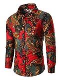 chenshijiu Men Floral Print Long Sleeve Casual Button Down Shirt Red S