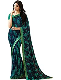 KAMELA SAREE women's silk material Blue colour Printed Party wear saree With Blouse