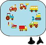 wolga-kreativ 2 Stück Auto SonnenSchutz SonnenBlende Junge Autos Baustelle für Baby und Kind Autofenster Sonnenschutz (Doppelpack)