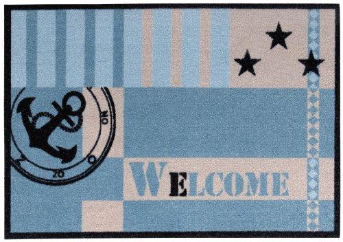 Andiamo 700682 Schmutzfangmatte Metropolitan 39 x 58 cm Polyamid Waschbar bei 30 grad Handwäsche, blau