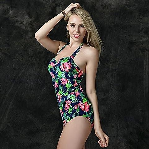 BJN-Europee e Americane retrò un pezzo rotto del costume da bagno di fiori di snellimento della moda costumi da bagno , luce verde , 54/5xl