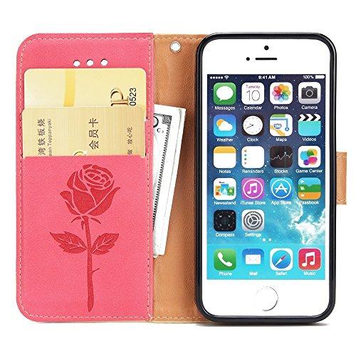 EKINHUI Case Cover Dual Color Matching Premium PU Leder Flip Stand Case Cover mit Card Cash Slots und Lanyard für iPhone 5 & 5s & SE ( Color : Pink ) Red