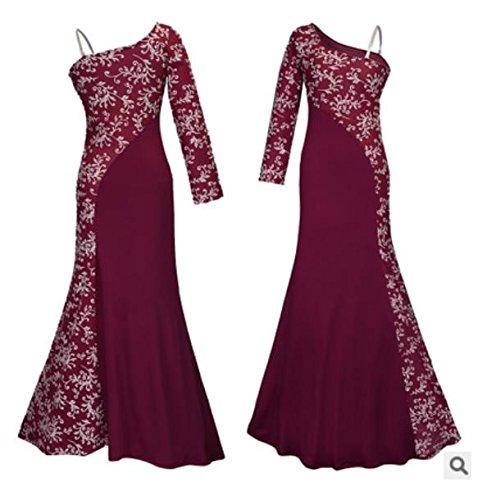 SHUNLIU Damen Elegant Spitzen Abendkleid Brautjungfer Cocktailkleid Chiffon Rock Langes Abendkleid Rot
