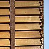 plisseeonline Technik Holzjalousie Echtholz Holz Jalousie Rollo Lamellen 50mm Hellbraun (120 x 250 cm)