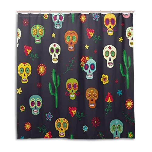 BIGJOKE Cortina de Ducha, diseño de Calavera de azúcar Halloween, Resistente al Moho, Tela de poliéster Impermeable, 12 Ganchos, 167,1 x 182,88 cm, decoración del hogar