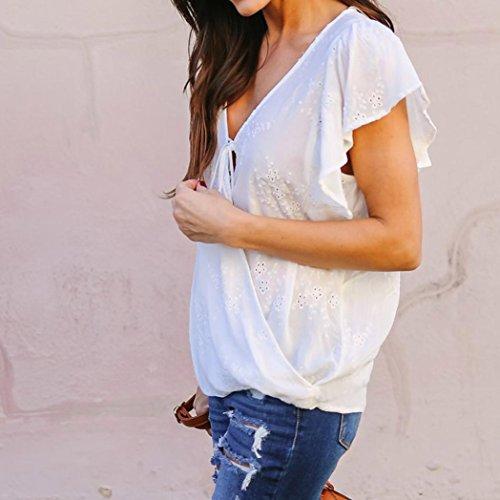 Angelof Blouse Col V Femmes Détail Volants Femme Débardeur à Fleurs Brodées Creux Fille T-Shirt Top Blanc