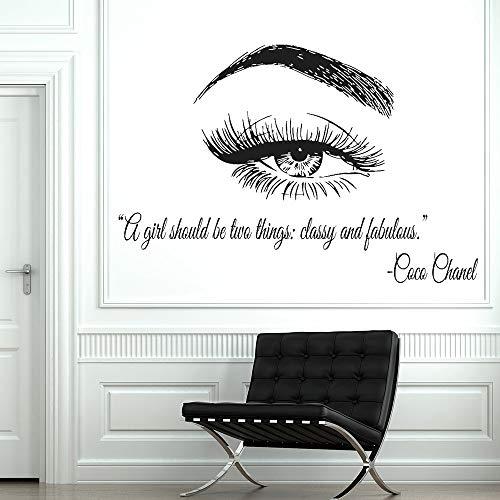 yiyiyaya Vinyl Wall Window Decal Wimpern Wimpernverlängerungen Wandaufkleber Augenbrauen Brauen Beauty Salon Zitat Make Up Wandbild Kaffee 105x70 cm