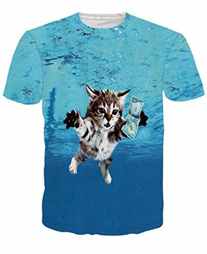 Men's 3D Killer Laser Kitty Printed Casual Tee Shirt 17