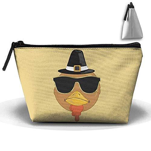 Lustige Erntedankfest cool Truthahn mit Brille Stift Schreibwaren Federmäppchen Kosmetik Make-up Tasche Beutel