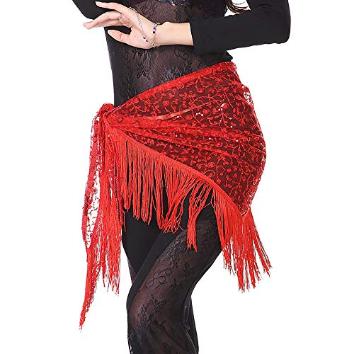 Acqrobe Frauen Bauchtanz Hüfttuch Rock Wrap Tanzen Kostüm Spitze Quaste Bund Praxis - Professionelle Ägyptische Bauchtanz Kostüm