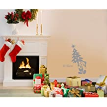 60 cm x 32 cm tamaño de la decoración de Navidad Color gris ratón de Mickey con el nombre elegido, nombre, nombre personaliseitonline, árbol de Navidad, infantil, vinilo del coche, las ventanas y pared, ventanas de pared arte, etiquetas de Navidad, adorno adhesivo de vinilo ThatVinylPlace