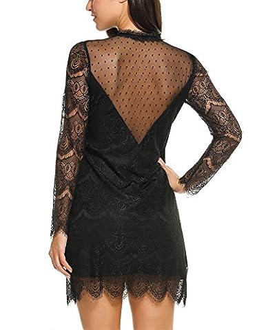 ACEVOG Damen Rückenfreies Spitzenkleid mit Langarm Minikleid Abendkleid Partykleid