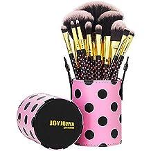 joyjorya Sets de Brochas para Maquillaje Facial Rostro Sombras de Ojos,Labios, Polvos, Difuminar, Iluminador, Colorete 11 Piezas - Rosado