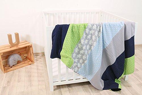 ke Elefant Blau Grün (100x140 cm Baby Kuscheldecke, ideal als Kinderwagendecke, Spieldecke geeignet, Motiv: Punkte, Sterne) ()