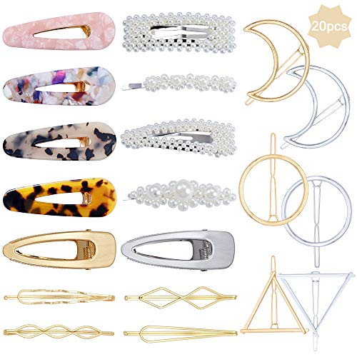 20 Stücke Geometrische Acryl Harz Perle Haarklammern Haarspangen für Frauen Mädchen, Mode Metall Snap Alligator Haarnadeln Barrettes Für Mädchen Geschenke