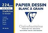 Clairefontaine 96156C Mappe Zeichenpapier (224 g, 21 x 29,7 cm, 12 Bögen, ideal für Kunstunterricht, geleimt) weiß